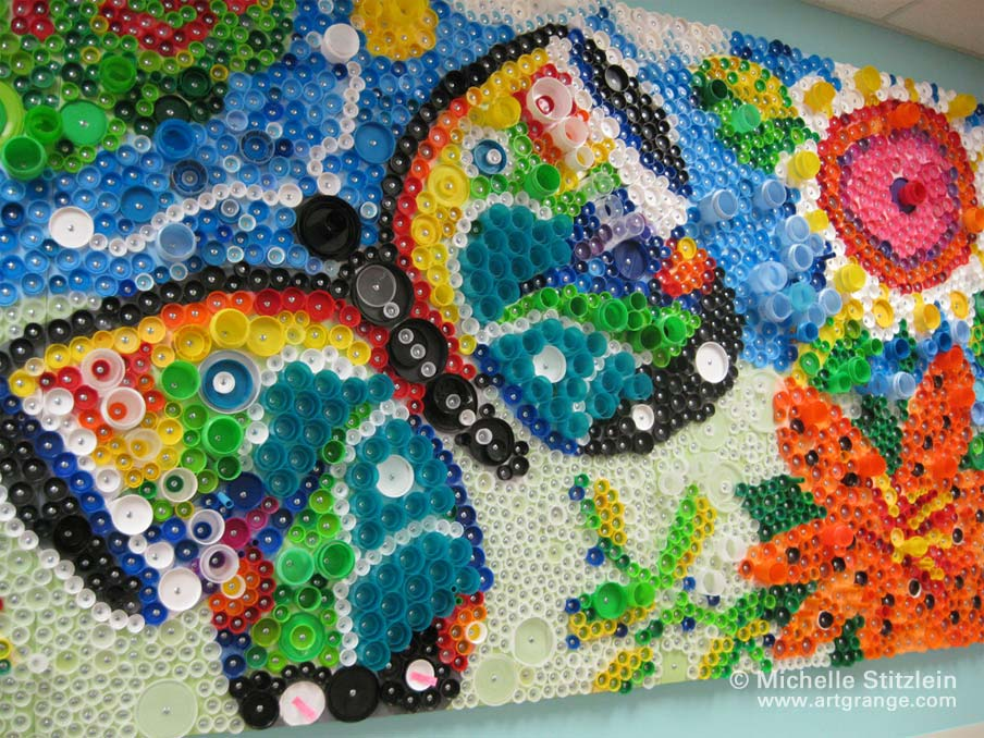 Plastic bottle caps art keep it pure simple for Bottle cap mural